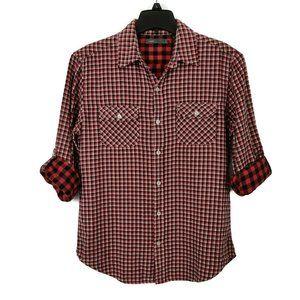 Vince Plaid Double Face Button Front Shirt